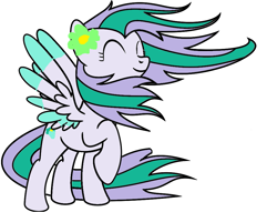 Size: 971x742   Tagged: safe, artist:sydpeep, oc, oc:lilac breeze, pegasus, eyes closed, happy, pegasus oc, solo, wind, wings