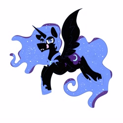Size: 2800x2800 | Tagged: safe, artist:dicemarensfw, nightmare moon, alicorn, pegasus, pony, unicorn, armor, colored, fangs, female, flying, horn, moon, shading, simple background, solo, sparkles, spread wings, sticker, tongue out, white, white background, wings
