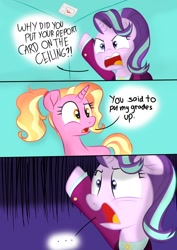 Size: 1000x1414 | Tagged: safe, artist:swivel starsong, luster dawn, starlight glimmer, pony, unicorn, ..., angry, clothes, comic, dialogue, luster dawn is a god damn moron, luster dawn is starlight's and sunburst's daughter, misunderstanding, older, older starlight glimmer, pun, smartass, suit, this will end in detention, this will end in grounding, this will end in gulag, visual pun