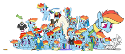 Size: 8775x3822   Tagged: safe, artist:dacaoo, rainbow dash, twilight sparkle, oc, oc:anon, alicorn, genie, genie pony, pegasus, pony, seapony (g4), zebra, alternate hairstyle, armor, bedroom eyes, bell, bell collar, blushing, box, braid, clothes, collage, collar, cutie mark, dashstorm, disembodied hand, do not want, doll, eyes closed, food, friendship throne, frog (hoof), geniefied, glasses, goggles, gun, hand, implied lesbian, implied shipping, implied twidash, juice, juice box, micro, mug, multeity, peytral, pizza, pony in a box, scratching, seaponified, seapony rainbow dash, self ponidox, simple background, sleeping, species swap, spread wings, tongue out, toy, transparent background, twilight sparkle (alicorn), underhoof, uniform, weapon, wet, wet mane, wings, wonderbolts uniform, zebra oc