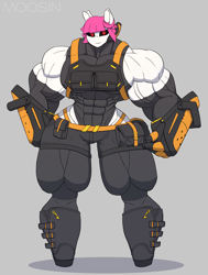 Size: 2550x3367 | Tagged: safe, artist:mopyr, oc, oc only, oc:fort, anthro, abs, black sclera, clothes, evening gloves, female, gauntlet, gloves, long gloves, muscles, outfit, overdeveloped muscles, pouch, skintight clothes, solo, stockings