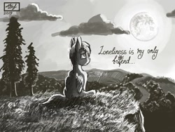 Size: 680x512 | Tagged: safe, artist:dreamyskies, oc, oc only, oc:dreamer skies, pegasus, pony, cliff, cloud, depressed, depression, detailed, detailed background, field, forest background, grass, horizon, lonely, looking up, male, monochrome, moon, moonlight, night, pegasus oc, pony oc, sad, signature, single, sitting, solo, stallion, text, tree, wings