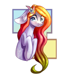Size: 2810x3534   Tagged: safe, artist:helemaranth, oc, oc only, oc:lily, earth pony, pony, bust, earth pony oc, flower, flower in hair, simple background, solo, transparent background