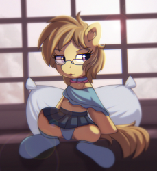 Size: 1290x1411 | Tagged: safe, artist:anonbelle, oc, oc only, oc:dawnsong, earth pony, pony, clothes, commission, female, glasses, pillow, skirt, socks