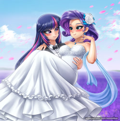 Size: 1200x1204 | Tagged: safe, alternate version, artist:racoonsan, rarity, twilight sparkle, human, alternate hairstyle, bare shoulders, blue hair, blushing, bowtie, breasts, bride, cape, carrying, clothes, coat, crown, dress, ear piercing, earring, eyelashes, eyeshadow, female, flower, flower in hair, hood, humanized, jewelry, lesbian, long hair, looking at each other, makeup, marriage, multicolored hair, nail polish, outdoors, patreon, piercing, pink hair, purple hair, rarilight, regalia, robe, rose petals, shipping, shirt, shoes, sky, sleeveless, smiling, strapless, tuxedo, website, wedding, wedding dress
