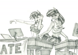 Size: 1400x999 | Tagged: safe, artist:baron engel, dj pon-3, octavia melody, vinyl scratch, earth pony, pony, unicorn, anthro, breasts, clothes, duo, goggles, grayscale, headset, monochrome, open mouth, pants, pencil drawing, traditional art, turntable