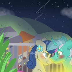 Size: 768x768 | Tagged: safe, artist:valkiria, bon bon, lyra heartstrings, sweetie drops, earth pony, unicorn, blushing, car, city, cute, female, females only, flower, horn, lesbian, looking at each other, lyrabon, mare, night, plant, shipping