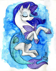 Size: 1280x1633 | Tagged: safe, artist:korppipoika, artist:susikukka, rarity, mermaid, pony, unicorn, abstract background, clothes, eyes closed, female, mare, mermaid tail, mermarity, shell, smiling, solo, traditional art, water, watercolor painting