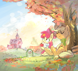 Size: 1750x1600 | Tagged: safe, artist:nendo, apple bloom, applejack, earth pony, pony, adorabloom, apple, apple sisters, autumn, bandana, barn, bucket, clothes, cute, duo, eating, eyes closed, female, filly, food, herbivore, jackabetes, leaves, mare, relaxing, scarf, scenery, siblings, sisters, sitting, smiling, sweet apple acres, tree