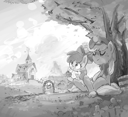 Size: 1750x1600 | Tagged: safe, alternate version, artist:nendo, apple bloom, applejack, earth pony, pony, apple, apple sisters, autumn, bandana, barn, bow, bucket, clothes, cowboy hat, cute, duo, eating, eyes closed, female, filly, food, grayscale, hair bow, hat, herbivore, leaves, mare, monochrome, relaxing, scarf, scenery, siblings, sisters, sitting, smiling, sweet apple acres, tree