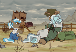Size: 2500x1700   Tagged: safe, artist:crimmharmony, oc, oc only, pony, unicorn, fallout equestria, bag, cigarette, clothes, commission, crying, emotional, female, fence, foal, heart, heart hoof, hug, male, mare, mountain, outhouse, overalls, pipbuck, scenery, stallion, tumbleweed, wasteland