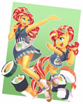 Size: 1100x1378 | Tagged: safe, artist:dstears, sunset shimmer, pony, unicorn, eqg summertime shorts, equestria girls, good vibes, clothes, cute, digital art, female, food, geta, human ponidox, kimono (clothing), mare, self ponidox, shimmerbetes, shoe dangling, smiling, socks, sunset sushi, sushi