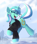 Size: 1500x1750 | Tagged: safe, artist:shadowreindeer, lyra heartstrings, pony, unicorn, clothes, cute, dig the swell hoodie, esophagus, eyes closed, female, gullet, happy, hoodie, lyrabetes, mare, music notes, open mouth, singing, slimy, solo