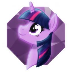 Size: 2048x2048 | Tagged: safe, artist:whitequartztheartist, twilight sparkle, unicorn, glow, head, purple, solo