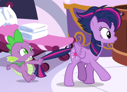 Size: 1080x780   Tagged: safe, screencap, spike, twilight sparkle, alicorn, pony, castle sweet castle, alternate hairstyle, cropped, duo, eyes on the prize, ponyville spa, punklight sparkle, tail, tail pull, twilight sparkle (alicorn)