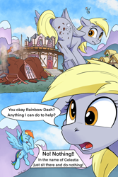 Size: 2000x3000 | Tagged: safe, artist:tsitra360, derpy hooves, rainbow dash, pegasus, pony, comic:the last roundup resized, the last roundup, butt, comic, destruction, female, floppy ears, frog (hoof), giant derpy hooves, giant pegasus, giant pony, giantess, i just don't know what went wrong, macro, open mouth, ponyville, scene interpretation, town hall, underhoof