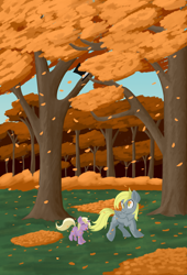 Size: 3000x4400 | Tagged: safe, artist:iron curtain, derpy hooves, dinky hooves, pegasus, pony, unicorn, autumn, equestria's best daughter, equestria's best mother, eyes closed, falling leaves, female, filly, foal, forest, leaves, mare, mother and child, mother and daughter, open mouth, painting, smiling, tree