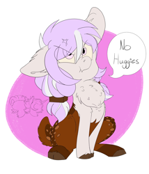 Size: 3000x3500   Tagged: safe, oc, oc only, oc:little chip, deer, deer pony, hybrid, original species, chest fluff, cloven hooves, ear fluff, female, filly, floppy ears, pouting, simple background, sitting, solo, speech bubble, two toned mane, white background