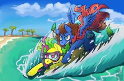 Size: 1920x1263 | Tagged: safe, artist:folieatrois, oc, oc only, oc:bit assembly, oc:bizarre song, earth pony, original species, pegasus, shark, shark pony, background, beach, cape, clothes, female, jet ski, jewelry, male, necklace, palm tree, riding, riding a pony, snorkel, tree, water