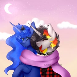 Size: 894x894 | Tagged: safe, artist:sombralicious, princess luna, oc, oc:moonshine, alicorn, unicorn, canon x oc, choker, clothes, cloud, crown, dusk, flannel, flannel shirt, happy, jewelry, laughing, moon, piercing, regalia, scarf, shirt, smiling, stars, wholesome