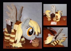Size: 3760x2688 | Tagged: safe, artist:calusariac, derpy hooves, pony, clothes, food, high res, irl, mailbag, muffin, photo, plushie, socks, solo, striped socks