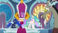 Size: 1920x1080 | Tagged: safe, screencap, discord, princess celestia, princess luna, the ending of the end