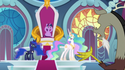 Size: 1920x1080 | Tagged: safe, screencap, discord, princess celestia, princess luna, twilight sparkle, the ending of the end