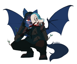 Size: 1311x1083 | Tagged: safe, artist:redxbacon, oc, oc:nyn indigo, bat pony, original species, timber pony, timber wolf, blood, commission, dead by daylight, knife, licking knife, mask, species swap, the legion