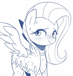 Size: 3497x3600 | Tagged: safe, artist:maren, fluttershy, pegasus, pony, green isn't your color, blushing, cute, female, high res, mare, monochrome, outfit catalog, shyabetes, solo, spread wings, sweat, wings