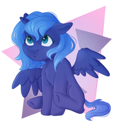 Size: 1516x1654 | Tagged: safe, artist:lunart8, princess luna, alicorn, pony, abstract background, blank flank, chest fluff, cute, female, filly, lunabetes, simple background, sitting, solo, transparent background, woona, younger