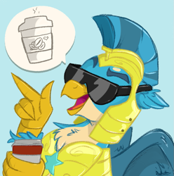 Size: 693x699 | Tagged: safe, artist:rutkotka, gallus, griffon, the last problem, armor, blue background, coffee, glasses, male, royal guard, royal guard gallus, simple background, smiling, solo, sunglasses