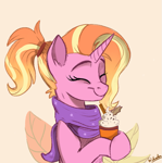 Size: 693x699 | Tagged: safe, artist:rutkotka, luster dawn, pony, unicorn, clothes, coffee, cute, eyes closed, female, food, latte, mare, scarf, smiling, solo, warm