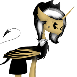 Size: 1000x1000   Tagged: safe, artist:rainbow dash is best pony, oc, oc:asiandra, alicorn, pony, alicorn oc, bendy and the ink machine, bowtie, clothes, dress, freckles, hat, horn, looking at you, simple background, solo, transparent background, wings