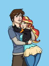 Size: 1544x2056 | Tagged: safe, artist:ameliacostanza, sunset shimmer, human, blue background, crossover, hug, humanized, peter parker, simple background