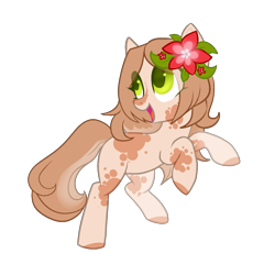 Size: 1500x1500 | Tagged: safe, artist:helemaranth, oc, oc only, earth pony, pony, base used, colored hooves, earth pony oc, flower, flower in hair, looking back, open mouth, rearing, simple background, smiling, solo, transparent background