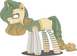 Size: 1024x737 | Tagged: safe, artist:babyroxasman, oc, oc:light wright, pony, unicorn, angry, braided tail, clothes, ear piercing, glasses, male, piercing, simple background, solo, stallion, stockings, thigh highs, transparent background, vector