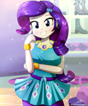 Size: 1784x2163 | Tagged: safe, artist:the-butch-x, rarity, equestria girls, beautiful, blue eyes, bracelet, breasts, busty rarity, clothes, cute, dress, fashionista, female, girly, jewelry, looking at you, purple hair, raribetes, rework, shoes, solo