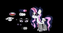 Size: 943x499 | Tagged: safe, artist:princessmoonsing, oc, oc:sasha, earth pony, earth pony oc, eyeshadow, makeup, reference sheet, solo