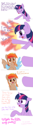 Size: 1200x4600 | Tagged: safe, artist:brisineo, applejack, fluttershy, pinkie pie, rainbow dash, rarity, twilight sparkle, oc, oc:thingpone, alicorn, pegasus, pony, among us, bat wings, comic, meeting, open mouth, pointing, simple background, text, white background, wig, wings