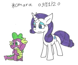 Size: 1130x938 | Tagged: safe, artist:cmara, rarity, spike, dragon, pony, unicorn, blushing, eyeshadow, female, grin, makeup, male, mare, shipping, simple background, smiling, sparity, straight, traditional art, white background