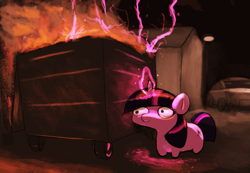 Size: 1815x1254 | Tagged: safe, twilight sparkle, pony, unicorn, dumpster fire, female, fire, glow, glowing horn, horn, lightning, magic, mare, smiling, solo, trash can, twiggie, unicorn twilight, wide eyes