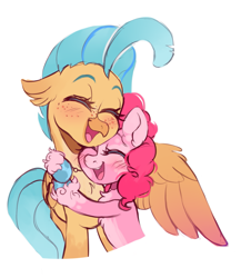 Size: 1111x1279 | Tagged: safe, artist:occultusion, pinkie pie, princess skystar, earth pony, hippogriff, pony, blushing, cute, daaaaaaaaaaaw, diapinkes, eyes closed, female, freckles, hug, lesbian, mare, markings, open mouth, redesign, shipping, simple background, skyabetes, skypie, white background, winghug