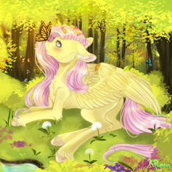 Size: 1000x1000 | Tagged: safe, artist:kiwi-peewee, fluttershy, butterfly, pegasus, pony, blushing, butterfly on nose, cheek fluff, chest fluff, colored hooves, dandelion, ear fluff, female, floppy ears, flower, flower in hair, forest, grass, insect on nose, looking at something, looking up, lying down, mare, outdoors, peaceful, profile, prone, solo, spread wings, tree, unshorn fetlocks, wings