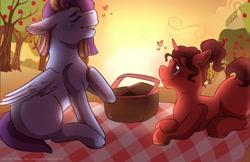 Size: 2244x1452   Tagged: safe, artist:roseandcompany, oc, pegasus, pony, unicorn, date, female, heart, male, mare, picnic, romantic, stallion, sunset