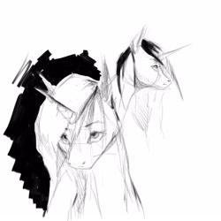Size: 2160x2160 | Tagged: safe, artist:kiwwsplash, oc, oc only, pony, unicorn, bust, duo, horn, lineart, monochrome, unicorn oc