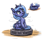 Size: 1000x922 | Tagged: safe, artist:king-kakapo, princess luna, alicorn, pony, chest fluff, cute, female, filly, lunabetes, ponies riding roombas, roomba, s1 luna, solo, spinning, woona, younger