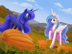 Size: 1500x1125 | Tagged: safe, artist:joellethenose, princess celestia, princess luna, alicorn, pony, autumn, cloud, female, jewelry, mare, mountain, open mouth, outdoors, pumpkin, pumpkin patch, raised hoof, regalia, signature, sky, smiling, standing, wip