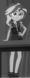 Size: 165x421 | Tagged: safe, screencap, sunset shimmer, equestria girls, equestria girls series, rarity investigates: the case of the bedazzled boot, black and white, cropped, grayscale, monochrome, solo