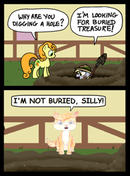 Size: 600x810 | Tagged: safe, artist:ewxep, artist:zicygomar, carrot top, derpy hooves, golden harvest, cat, earth pony, pegasus, pony, alternate storyline, background pony, carrot top is not amused, comic, digging, duo, female, hat, hole, mare, pun, shovel, treasure (palace pets), unamused