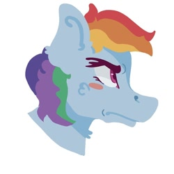 Size: 768x768 | Tagged: safe, alternate version, artist:dellieses, rainbow dash, pegasus, pony, blush sticker, blushing, bust, colored, female, frown, mare, simple background, solo, white background